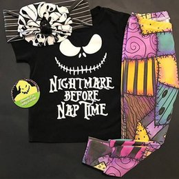 Wholesale Girls Skull T Shirt - Wholesale 2017 Kids Girls Halloween Clothing Baby Two Pieces Sets Children Autumn Suits Shirt Sleeve Skull T-Shirt And Pants For 100-130cm