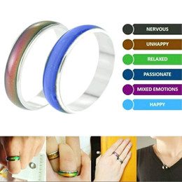 Wholesale Feel Temperature - 100Pcs lot Wholesale Jewelery Bulks Mixed Change Color Silver Plated Mood Rings Temperature Emotion Feeling Rings For Women Men