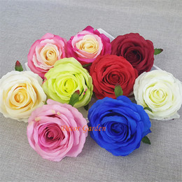 white silk roses flower heads Coupons - 9CM DIY Artificial Rose Flower Heads Silk Decorative Flower Supermarket Background DIY Road Led Wedding Wall Flower Bouquet FR04