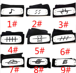 Wholesale Konoha Cosplay Naruto - 11 styles ANIME Naruto Headband Leaf Village Logo Konoha Kakashi Akatsuki Members Cosplay Costume Accessories blue red black JC141