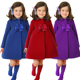 Wholesale Bow Wool Coat - Girls Wool&blends Long Sleeve Outerwear Cashmere Bow Princess Turn Down Collar Lace Clothes girls winter coat Bowknot lace jacket 2~6years