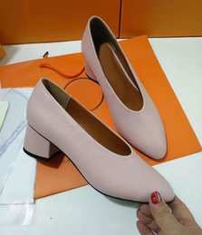 Wholesale Satin Almond Toe Pumps - JXW06 Loafer-inspired Pumps Fashion Office Lady Chunky Heel High Heels Slip On Women Genuine Leather Pump Shoes Sz 35-39