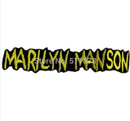 "Wholesale Wholesale Marilyn T Shirts - 5.5"" MARILYN MANSON Music Band EMBROIDERED IRON On Patch T shirt Transfer APPLIQUE Heavy Metal Rock Punk Badge"