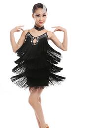 Wholesale sequin fringe dance dress - Latin Tassel Dance Dress For Girls New Sexy Children Custom Made Fringe Latin Competition Dancing Skirt