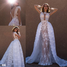 Wholesale Sexy White Sweetheart See Through - 2017 Overskirts Wedding Dresses High Neck Sheer Long Sleeves Lace Appliques Elegant See Through Back Bridal Gowns with Removable Skirt