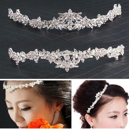 Wholesale wholesale rhinestone pageant crowns - Romantic Wedding Hair Accesories Women Party Pageant Crystal Bridal Tiara Silver Plated Crown Hairband Flower Crown Wedding Headpieces