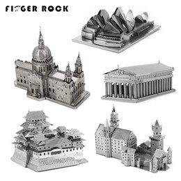 Wholesale Neuschwanstein 3d - Finger Rock 2017 3D Metal Puzzles Toys Buildings Church Model Neuschwanstein St.Paul's Cathedral Opera House DIY Jigsaws Gift