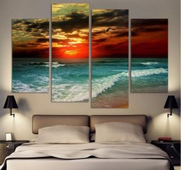Wholesale Beach Panel Wall Art - 4 Pieces Free Shipping Hot Beach Seascape Modern Wall Painting Home Decorative Art Picture Paint On Canvas Prints Pictures