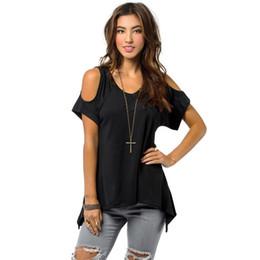 Wholesale Loose Off Shoulder Tops - Wholesale- Fashion Irregular Off Shoulder T Shirt Women Clothing Casual Soft Loose Ladies Summer T-shirts Tops