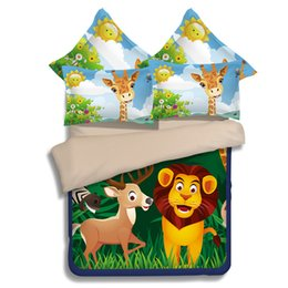 Wholesale Lion King Comforter - Cartoon Lion Printing Bedding Sets Twin Full Queen King Size for Children Boys Duvet Covers Pillow Shams Bed Comforter Bedroom Decor Animal