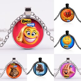Wholesale Devil Necklaces - 2017 new The Emoji Movie Necklace alloy Poo Devil necklace Children Xmas Gifts 32 colors C2377