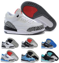 Wholesale Baby Girl Size Shoes - New Retro 3 Kids Shoes Retro 3s Air Basketball Shoes Children Toddler Boys Girls Baby Grey Years Brands Superstar Sneakers Size 11C-3Y