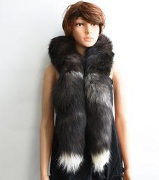 Wholesale Real Fur Scarfs - Winter Women's Natural Real Fox Fur Scarf Long Fox Fur Cap Fur Collar Scarves 160cm Soft Neck Warmer