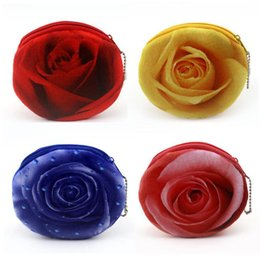 Wholesale Cute Girl Coin Bag - New 3D Printing Cute Rose Flower Coin Purse Mini Soft Plush Small Wallet Bank Card Bag for Girls Free Shipping