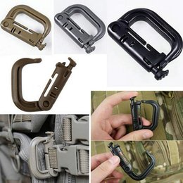Wholesale Plastic Snap Clips - Grimloc Molle Carabiner D Locking Ring Plastic Clip Snap type ring buckle tactical backpack carabiner Keychain ITW fastener