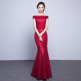 Wholesale Leather Jacket Size 12 - Long Elegant Lace Mermaid Red Evening Dress 2017 Cheap Price Crystal Prom Dresses Boat Neck Party Dress Robe De Soiree