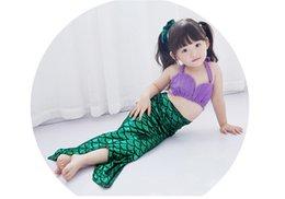 Wholesale Christmas Swimwear - mermaid costume Children Mermaid Swimsuit Clothing Girl Princess Mermaid Tail Swimwear Girl Beach Bikini Bikini