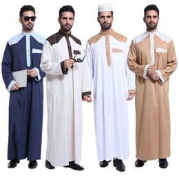 Wholesale muslim fashion men - Fashion Muslim clothing for Men Mens Kaftan Jubba Thobe White Abaya Arab clothing Man Islamic clothing Ropa Arabe hombre
