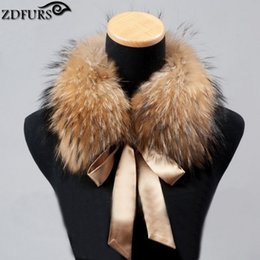 Wholesale Real Steal - Wholesale- 2016 Fashion Fur Scarf Real Raccoon Dog Fur Collars with Ribbon Real Fur Stole for Wool Coats 48CM