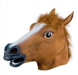 Wholesale Cheap Latex Masks - New Cheap Price Creepy Horse Mask Head Halloween Costume Theater Prop Novelty Hot Sales Head Latex Rubber Party Masks