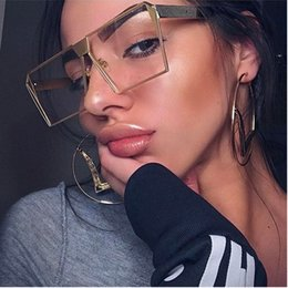 Wholesale Sexy Mixed Big Woman - Oversized Unisex Metal Women Men Sunglasses Brand Disgner Clear Lens Sexy Summer Style Big Frame Eyeglasses Square Gold Pink Shades Lunettes