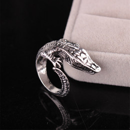 Wholesale Alloy Antique Rings Adjustable - 10pcs lot Antique Silver Crocodile Ring Cool Adjustable Alligator Rings for Women Animal