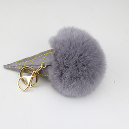 Wholesale Ice Rabbit - Ice Cream Fur Pom Pom Keychain Pompom Fur Pu Leather key Chain Pompon Porte Clef Rabbit Fur Ball Key Ring llaveros Chaveiros Sleutelhanger
