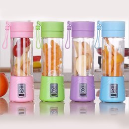 Wholesale Electric Blenders - Electric Fruit Juicer Machine Mini Portable USB Rechargeable Smoothie Maker Blender Shake And Take Juice Slow Juicer Cup 3 Colors