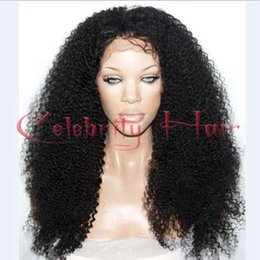 Wholesale Kinky Free Parting Lace Wig - For african american woman 16-26inch afro kinky curly free part glueless glueless lace wig baby hair black brown blonde part3-4""