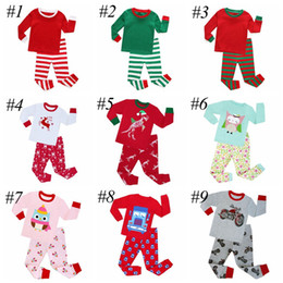 Wholesale Children Striped Long Sleeve - XMAS Children Christmas Pajamas 2Pc Sets Boys Girls Santa Green White Striped Nightwear Pajamas Sleepwear Baby Clothing Sets 2-8t 10colors