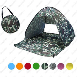 Wholesale Beach Braces - 2-3 Persons Fishing Tent Outdoor Automatic Pop Up Instant Portable Cabana Beach Tent Anti UV Beach Tent Beach Shelter 23 Colors