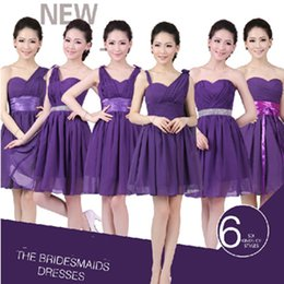 Wholesale Green Bridesmaids Dresses Knee Lenght - bridesmaid girl knee lenght dress sweetheart under $50 one shoulder sleeveless purple eggplant dresses girls size 16 B1324