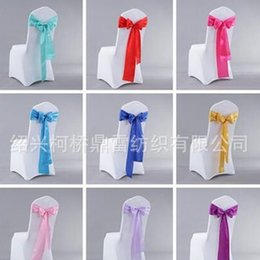 Wholesale Wholesale Flower Chair Covers - Chair Sashes Satin Elastic Butterfly Tie Chairs Back Cover Wedding Hotel Knot Decorate Flower Ribbon Bowknot Prop 1 2kq F