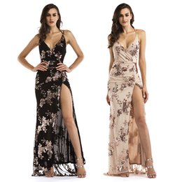 Wholesale Ladies Floral Prom Dress - New Sequined Long Prom Dress Ladies Black Gold Backless Evening Gowns Party Dresses Chic Split Floor_Length Formal Dress LJE1107