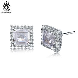 Wholesale Rhodium Plated Jewerly - Fashion Jewerly Silver 925 Solid Earrings Female Stud Earring with 1 Carat Big Shiny Austrian Cubic Zirconia SE24