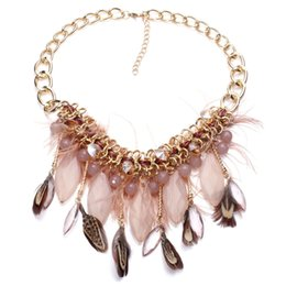 Wholesale Black Feather Choker - 2017 new Wholesale Chain chunky Choker statement necklaces fashion feather pendant Necklace for women