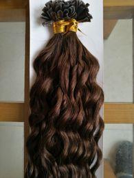 Wholesale Black Fusion Hair Extensions - New Fashion Fusion Hair Extensions F-tip 1g s Keratin Flat Tip Hair Extensions Human Brazilian Deep Curly Virgin Hair 100g