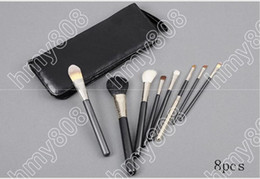 Wholesale feather kits - Brand Makeup Eyebrow Gel Tinted Hot sales Professional Brush 8 Pieces + leather Pouch(20pcs lot)