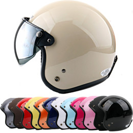 Wholesale Casque Helmet Moto Vintage - P#110 Taiwan S-Y-C DOT Vintage Motorcycle Helmet Open Face Bicycle Scooter Moto Motocross Casco with W Lens Adult Summer Casque