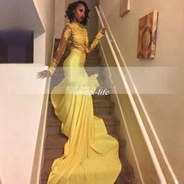 Bonitos vestidos para fiesta de graduación online-2017 Pretty Yellow African Lace Appliqued Sudáfrica vestido de fiesta sirena de manga larga banquete del partido de noche vestido por encargo más tamaño