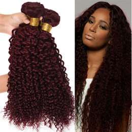 Wholesale 24 Inch Red Hair Extensions - Red Wine Hair Weave 99J Burgundy Peruvian Kinky Curly Human Hair Weft Bundles Kinky Curly Virgin Hair Extensions Peruvian Weaves 10''-30''