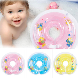 Wholesale Circle Protection - Baby Swimming Inflatable Circle New Born Infant Adjustable Swimming Neck Baby Swim Ring Float Ring Safety Double Protection Rings