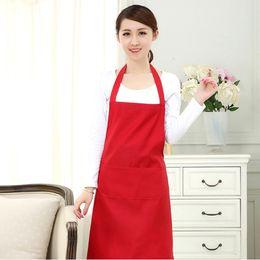 Wholesale Wholesale Canvas Apron Pockets - Multi-color Plain fashion apron solid color big pocket family cook cooking home baking cleaning tools bib baking art apron
