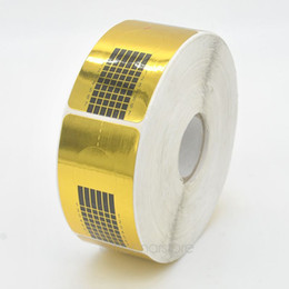 Wholesale Gold Nail Tape - Wholesale- 500pcs Roll Gold Nail Guide Sticker Tape Nail Art Sculpting Extension Nails Forms Guide Stickers Adhesive Acrylic UV Gel Tips