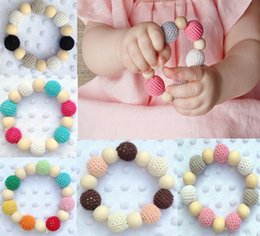 Wholesale Nursing Bell - Infant baby Wooden Teethers Teething baby Crochet nursing toys Infant teething crochet Neo rainbow colour crochet bead Natural teether bell