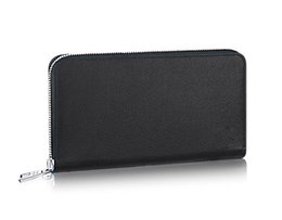 Wholesale Casual Dressing Style For Men - Brand New Zippy Organizer Long wallets for men Real Taiga leather travel wallet Top Damier Graphite Canvas designer clutch chequebook M30671