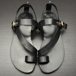 Wholesale Roman Gladiator Sandals Men - Wholesale- US-5-11 Men Genuine Leather Casual Beach Flat Thongs Roman Flip Flop Gladiator Summer Sandals Outdoor Slides Shoes