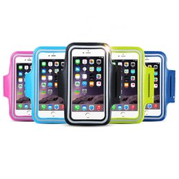 Wholesale Baseball Phone Covers - Universal For iPhone 7 plus 6 6S Plus SE 5 5C 5S 4 4S Waterproof PU Sports Running Arm Band Phone Case Holder Pouch Workout Gym Cover Bag