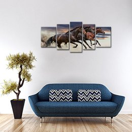 Wholesale More Fine - 5 Panels Canvas Paintings Three Fine Horses Running Animal Picture Prints with Wooden Frame For Home Decoration Ready to Hang