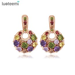 Wholesale Rose Gold Filled Earrings Stud - Rose Gold Color Statement Round Vintage Stud Earrings For Women Filled Multi Color Cubic Zirconia Brincos Wedding Party Jewellry LUOTEEMI